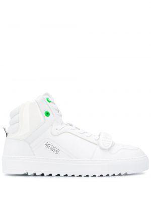 Biały wysoki sneakersy koronkowy sznurowany F_wd