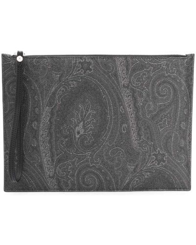 Czarny torba sprzęgło prostokątny z kieszeniami z prawdziwej skóry Etro