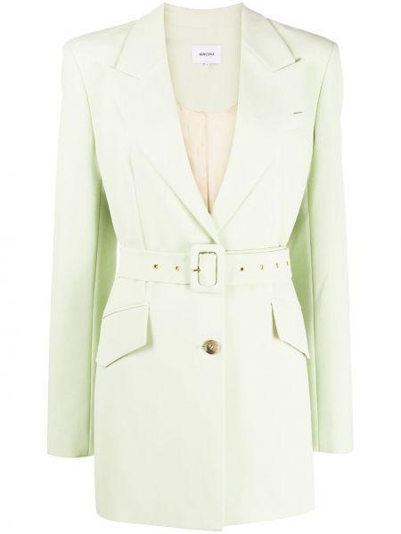 Зеленый пиджак с поясом с лацканами Nanushka
