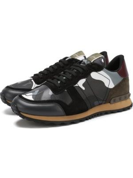 Серые комбинированные текстильные кроссовки с шипами Valentino
