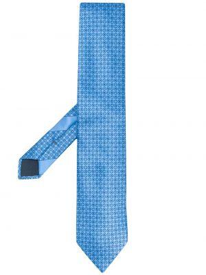Niebieski krawat z jedwabiu z printem Ermenegildo Zegna