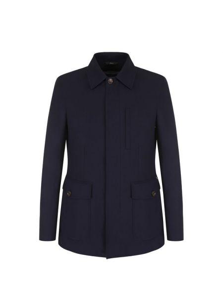 Шерстяная синяя куртка на молнии с подкладкой Brioni