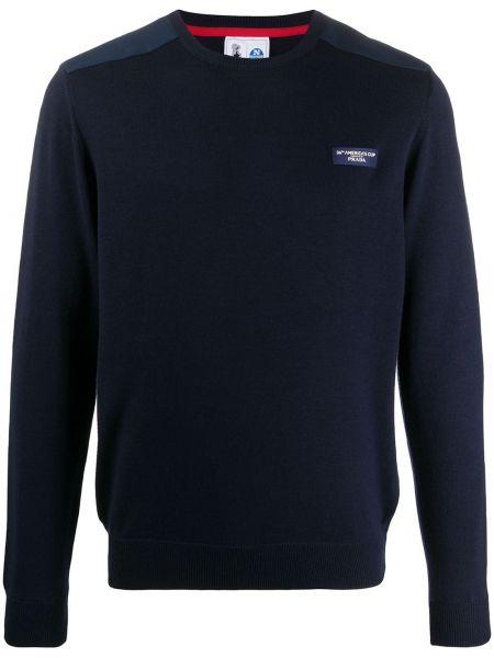 Wełniany ciemnoniebieski pulower z długimi rękawami z łatami North Sails X Prada Cup
