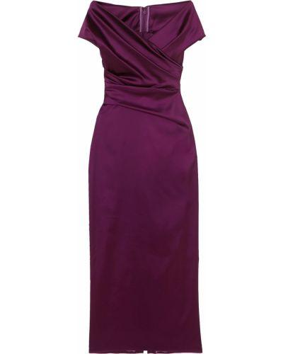 Фиолетовое платье миди с подкладкой с оборками Talbot Runhof