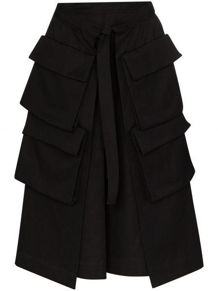 Шерстяная юбка миди - черная Lemaire