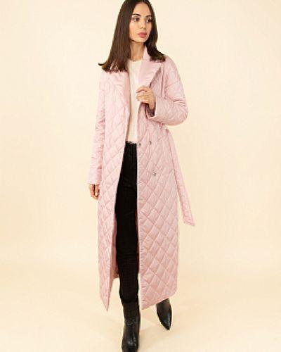 Розовое пальто с воротником каляев