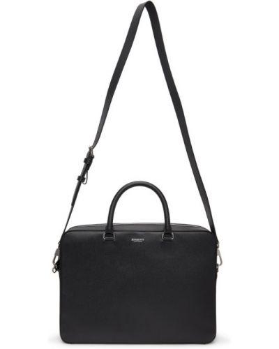 Черный деловой кожаный портфель Burberry