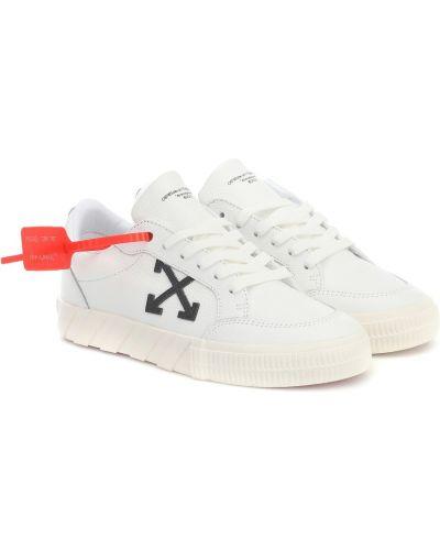 Повседневные белые кожаные кроссовки из натуральной кожи со складками Off-white