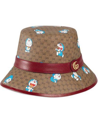 Beżowy kapelusz skórzany z printem Gucci