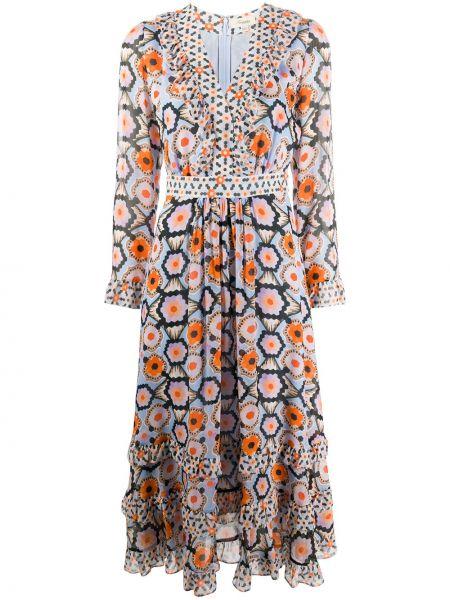 С рукавами оранжевое платье миди с V-образным вырезом на молнии Temperley London