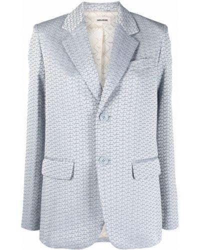 Синий удлиненный пиджак с карманами на пуговицах Zadig&voltaire