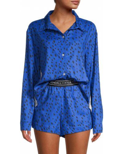 Хлопковая пижама с шортами с длинными рукавами для сна Kendall + Kylie