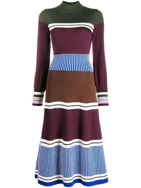 Вязаное прямое платье миди в рубчик с воротником Chinti & Parker
