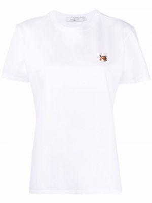 Белая хлопковая прямая футболка с вырезом Maison Kitsuné