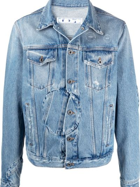 Хлопковая ватная синяя джинсовая куртка Off-white