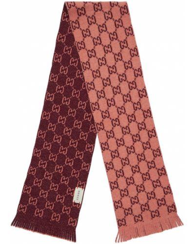 Różowy wełniany szalik frędzlami Gucci