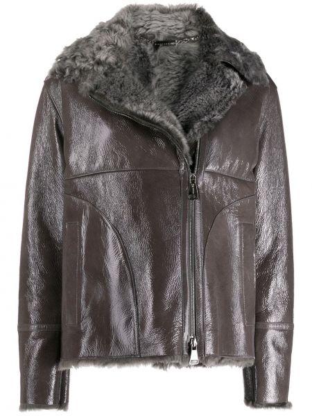 Серая кожаная куртка на молнии Manzoni 24