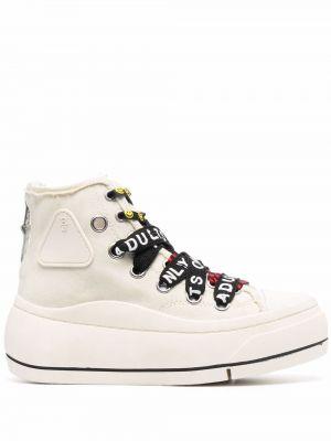 Кроссовки на шнуровке - белые R13