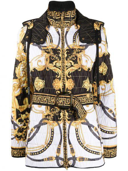 Kurtka skórzana długa z nadrukiem Versace