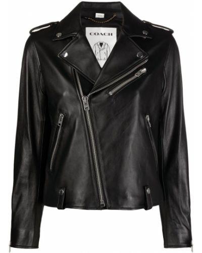 Кожаная куртка на молнии - черная Coach