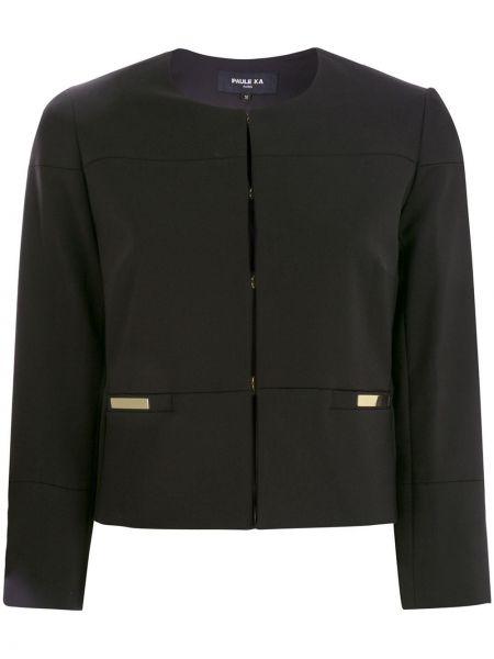 Хлопковый черный короткая куртка круглый Paule Ka