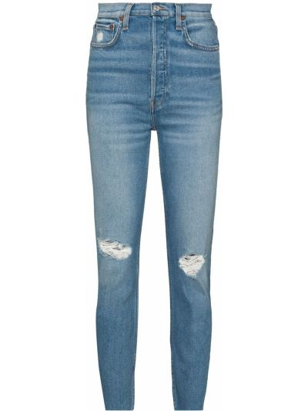 Bawełna bawełna niebieski jeansy na wysokości z kieszeniami Re/done
