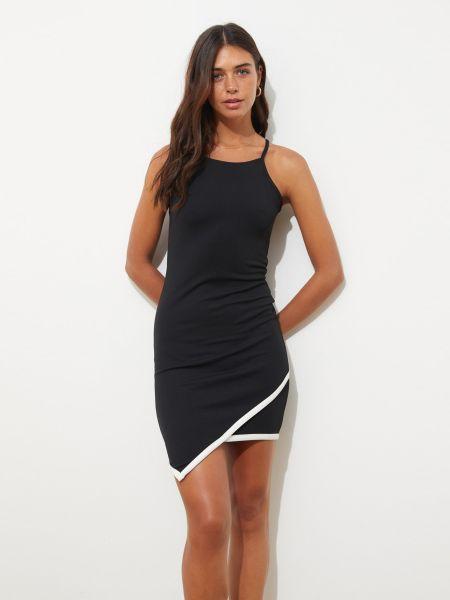 Хлопковое облегающее черное платье на бретелях Trendyol