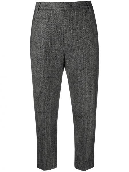 Шерстяные черные укороченные брюки с карманами Dondup