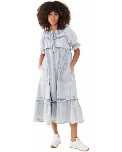 Niebieska sukienka midi bawełniana Free People