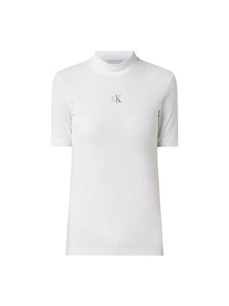 Bawełna bawełna biały koszula jeansowa ze stójką Calvin Klein Jeans