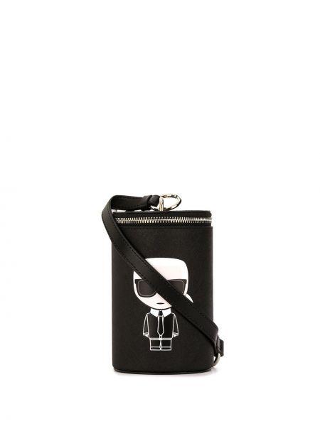 Сумка на плечо черная с принтом Karl Lagerfeld