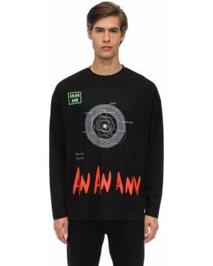 Czarny t-shirt z długimi rękawami bawełniany An An Ann