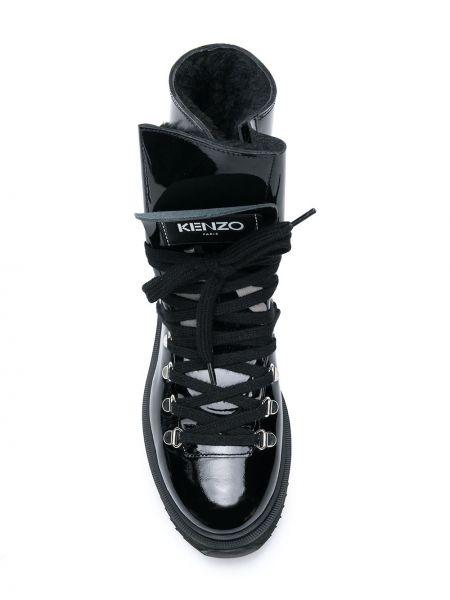 Черные сапоги из натуральной кожи на шнуровке Kenzo