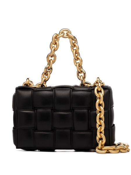 Кожаная черная сумка на плечо на молнии Bottega Veneta