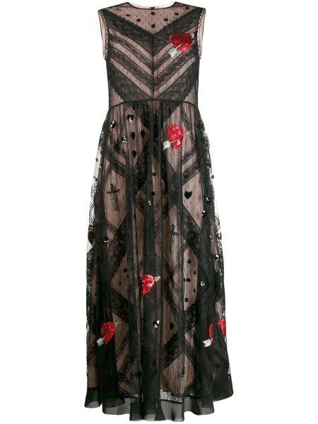 Платье миди с вышивкой сетчатое Redvalentino