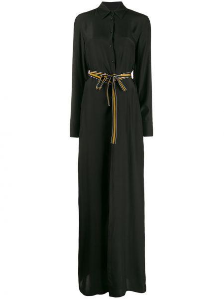 Черное платье макси на пуговицах с воротником с вырезом A.f.vandevorst