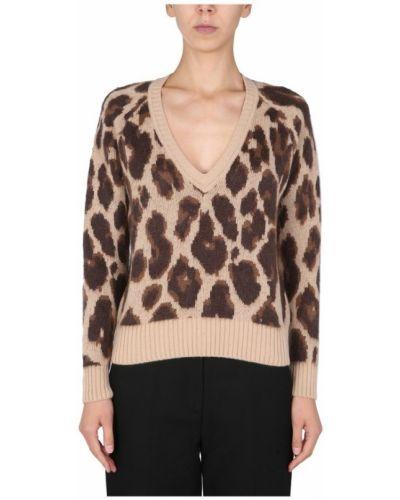 Brązowy sweter z dekoltem w serek Anna Molinari