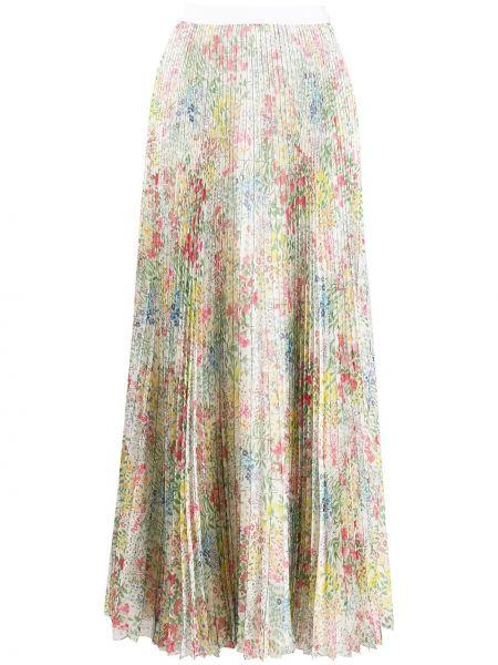 Плиссированная юбка с цветочным принтом шифоновая Giambattista Valli
