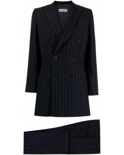 Niebieski garnitur wełniany z paskiem Dolce & Gabbana Pre-owned
