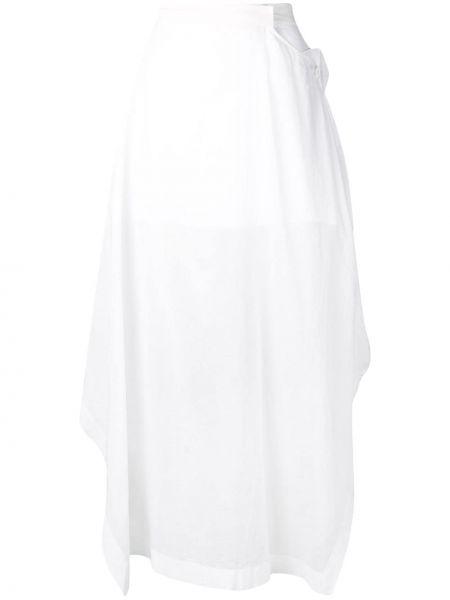 Spódnica midi z wysokim stanem asymetryczna bawełniana Jil Sander