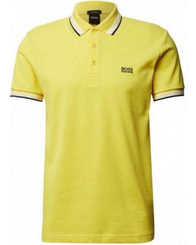 Żółty t-shirt w paski bawełniany Boss Athleisurewear
