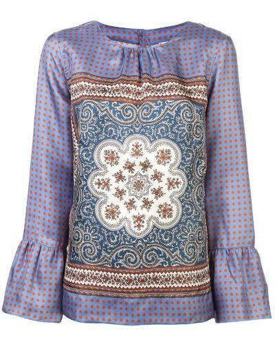 Фиолетовая блузка с длинным рукавом с вышивкой Le Sarte Pettegole