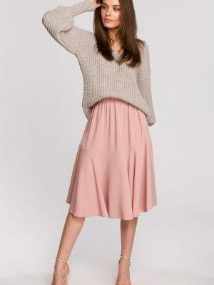 Różowa spódnica materiałowa na co dzień Stylove