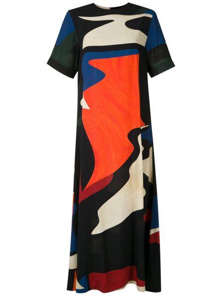 Брендовое с рукавами черное платье мини Osklen