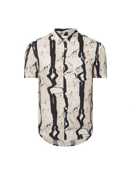 Beżowa koszula krótki rękaw z wiskozy Tiger Of Sweden