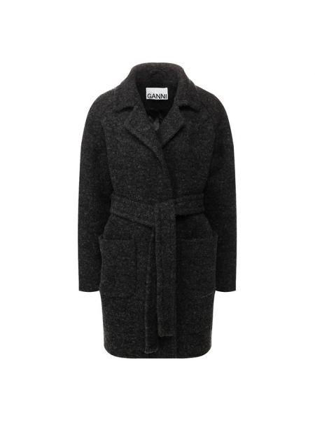 Пальто серое шерстяное Ganni