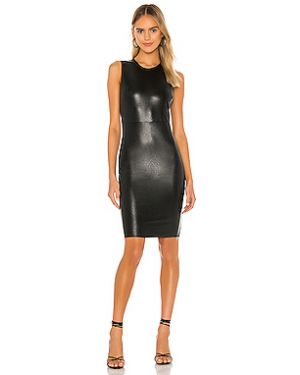Черное кожаное платье мини с подкладкой Commando