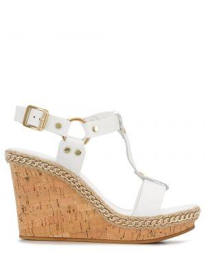 Sandały na koturnie skórzany biały Carvela