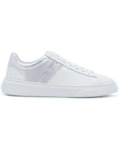 Белые кожаные кроссовки с глиттером Hogan