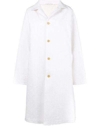 Прямое белое длинное пальто с капюшоном Jil Sander Pre-owned